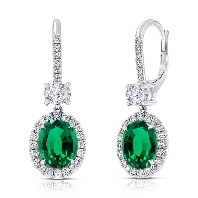 Uneek Oval Green Emerald Dangle Earrings with Pave Diamond Halos, 18K White Gold