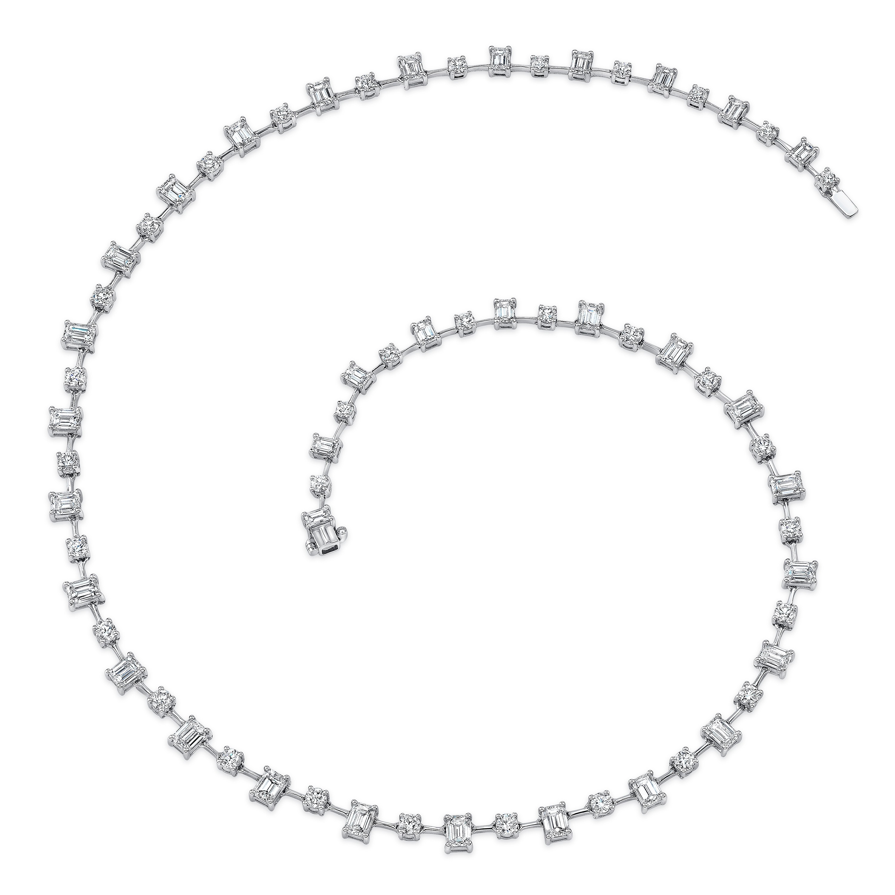 Uneek Round and Emerald Cut Diamond Necklace, in 18K White Gold