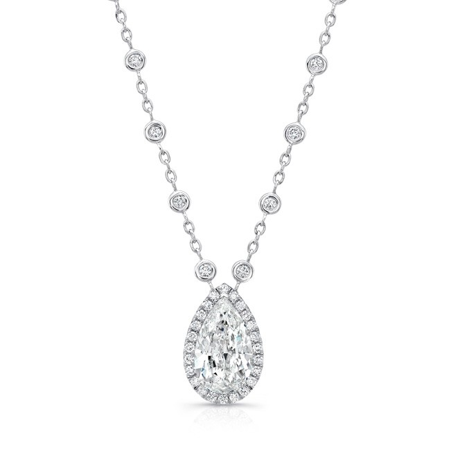 Uneek pear shaped diamond halo pendant with diamonds by the yard uneek pear shaped diamond halo pendant with diamonds by the yard chain in 18k white gold aloadofball Gallery