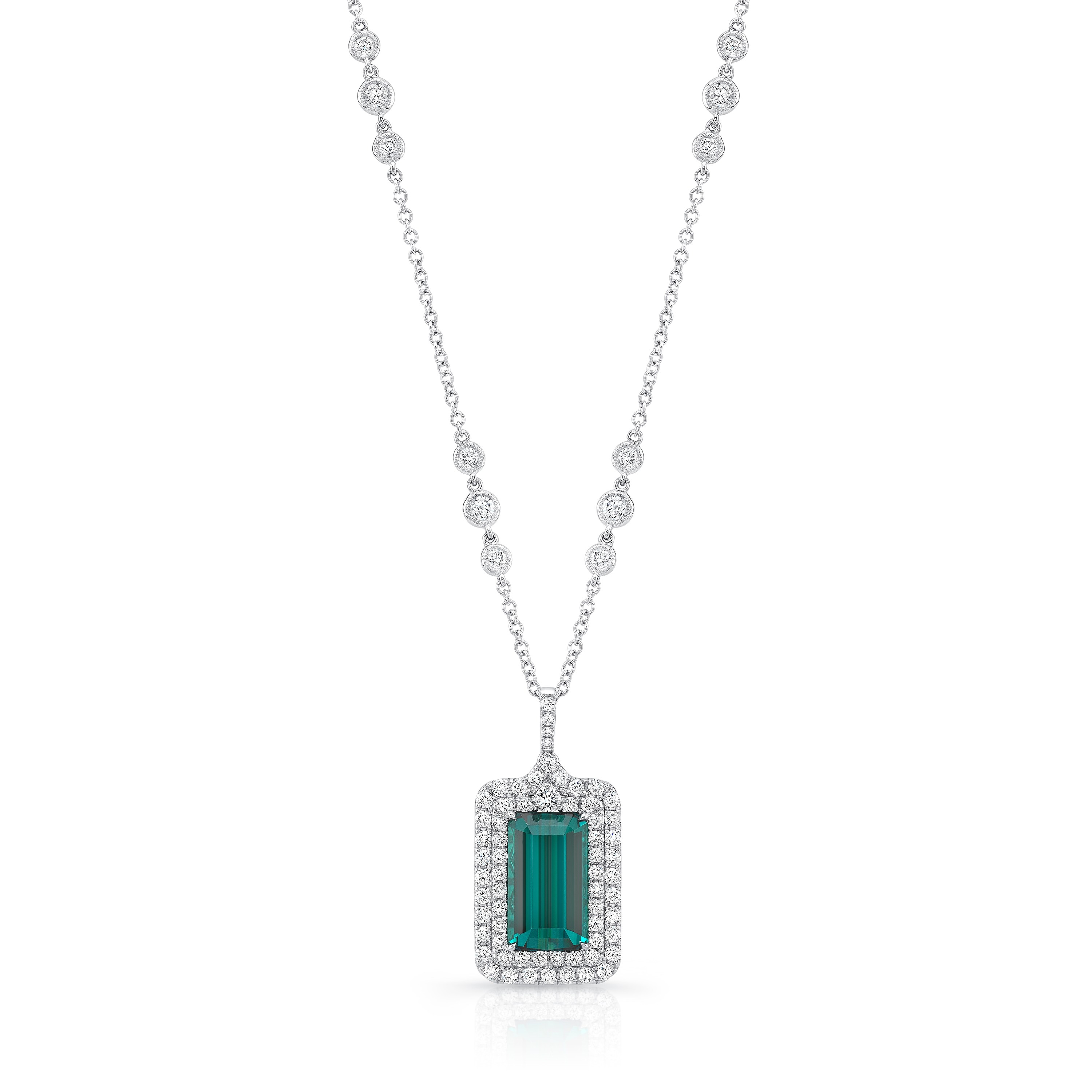 Uneek Emerald Cut Green Tourmaline Diamond Pendant, in 18K White Gold - LVN939GT
