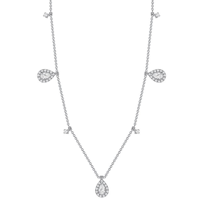 Uneek Pear Diamond Necklace, in 18K White Gold