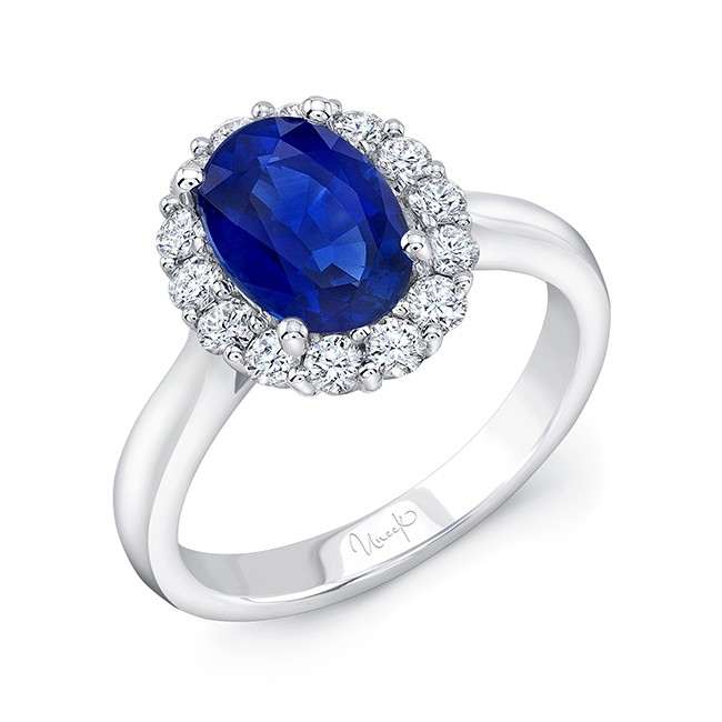 Uneek Classic Oval Blue Sapphire Engagement Ring with Diamond Halo