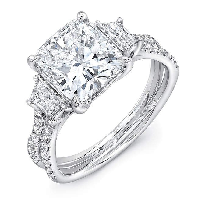 """Cushion Cut Diamond-Center Classic Three-Stone Engagement Ring with Pave """"Silhouette"""" Double Shank from Uneek"""