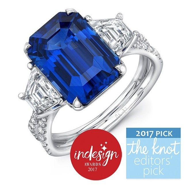 """Modern Sapphire-and-Diamond Three-Stone Engagement Ring with Pave """"Silhouette"""" Double Shank"""