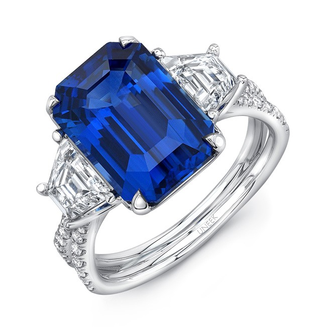 "Modern Sapphire-and-Diamond Three-Stone Engagement Ring with Pave ""Silhouette"" Double Shank"