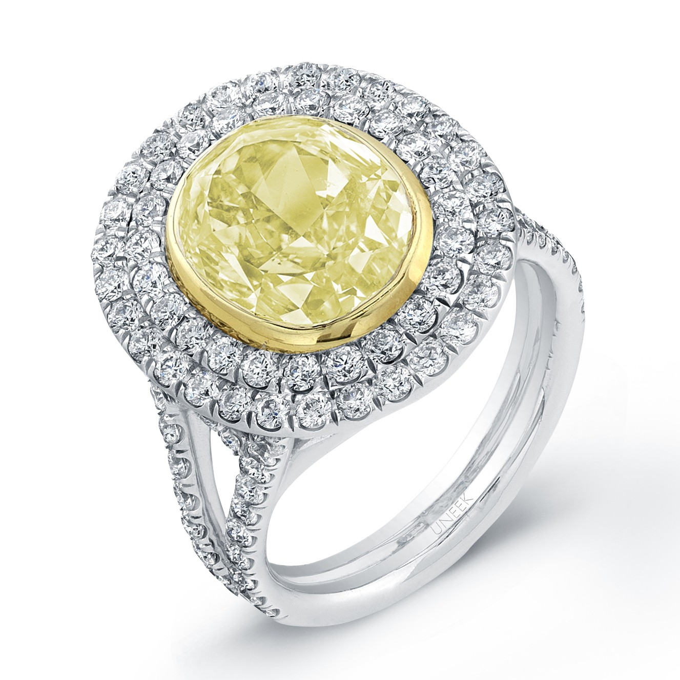 Double Gold Platinum: Uneek Oval Yellow Diamond Double Halo Engagement Ring, In