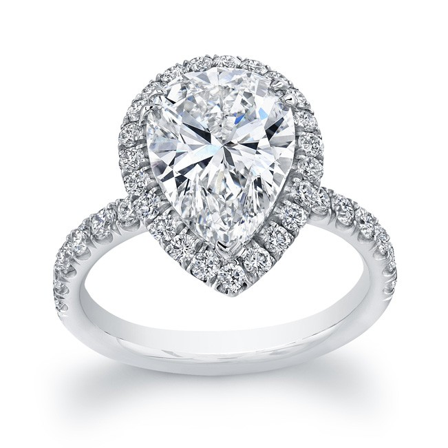 Uneek 4Carat PearShaped Diamond Halo Engagement Ring Platinum