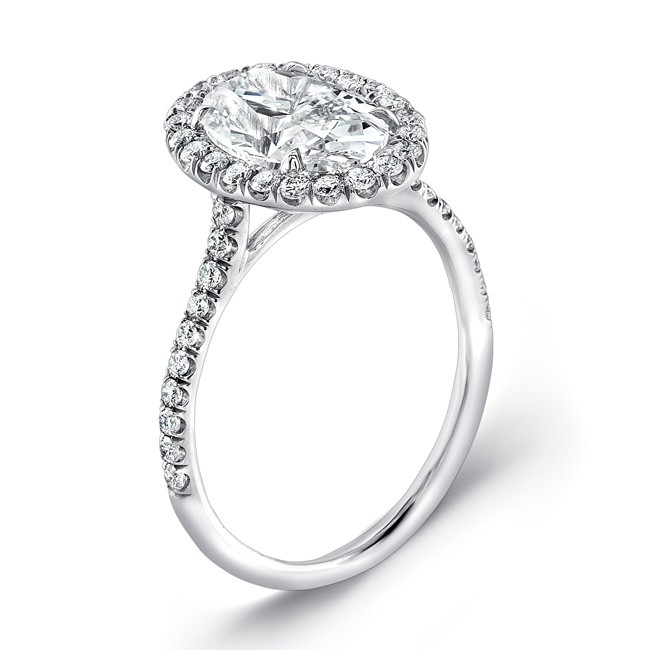 classic oval halo pave engagement ring in 14k