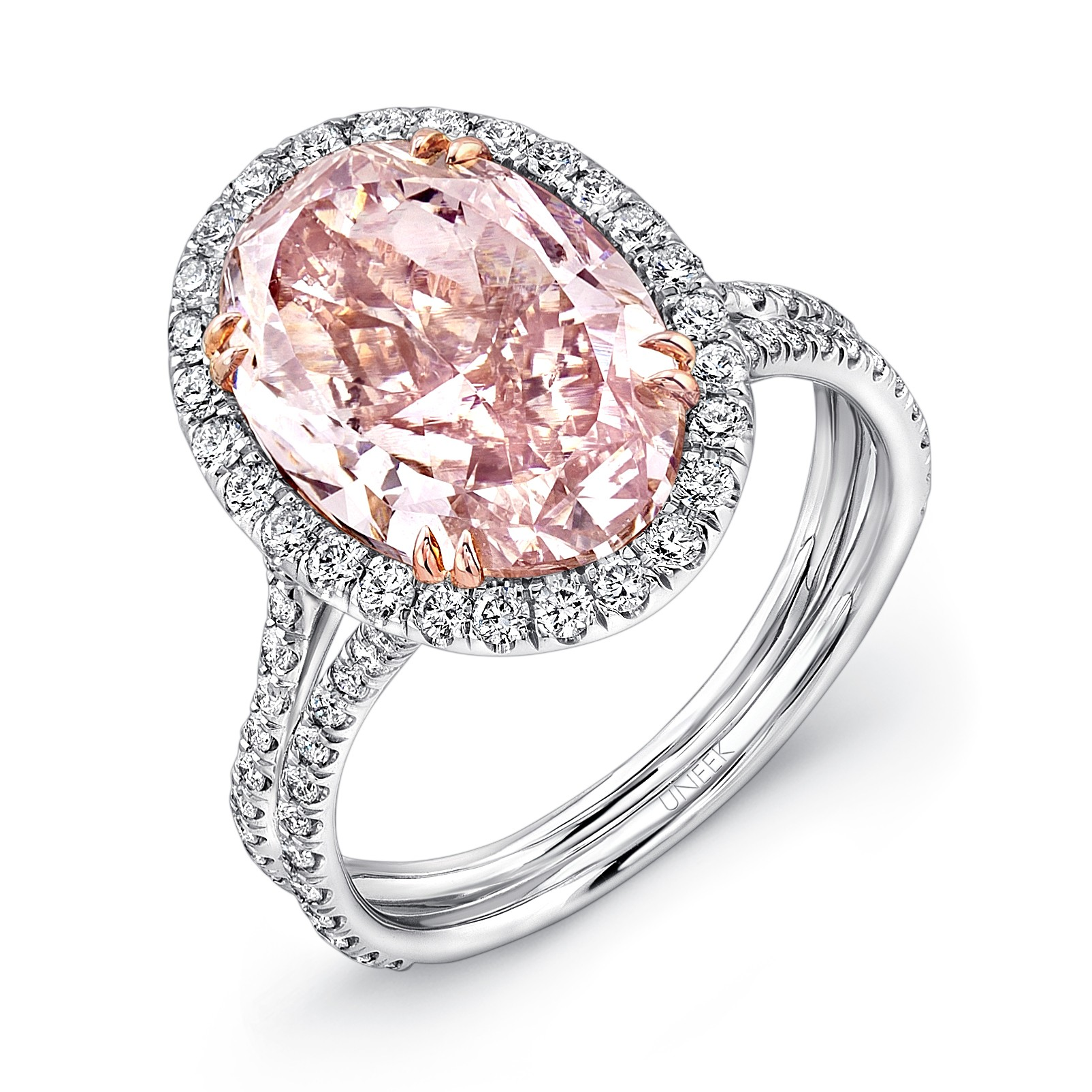 uneek oval fancy brown pink diamond halo engagement ring with silhouette double shank in platinum and 18k rose gold - Pink Wedding Ring
