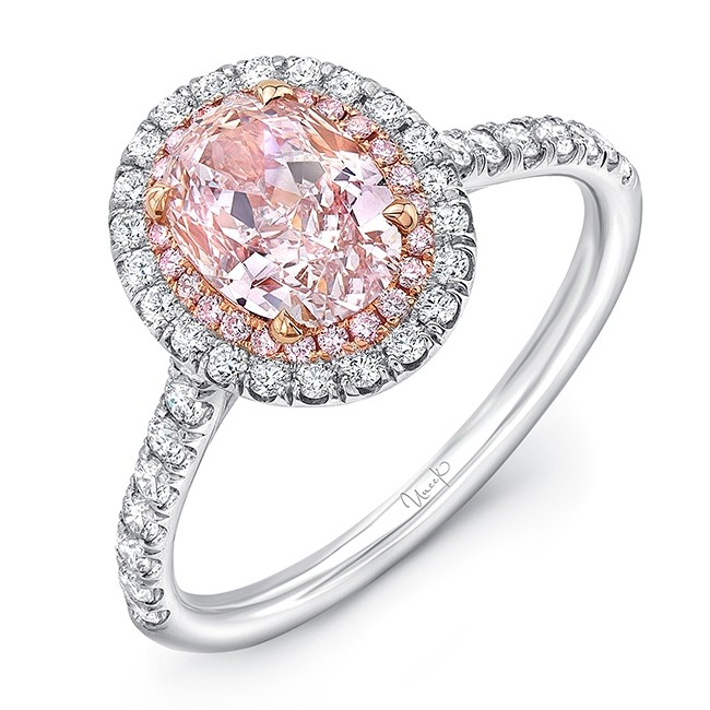 Uneek Oval Pink Diamond Engagement Ring With Pink Diamonds And White Diamonds On Double Halo