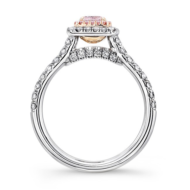 Pink Inner Halo Engagement Ring