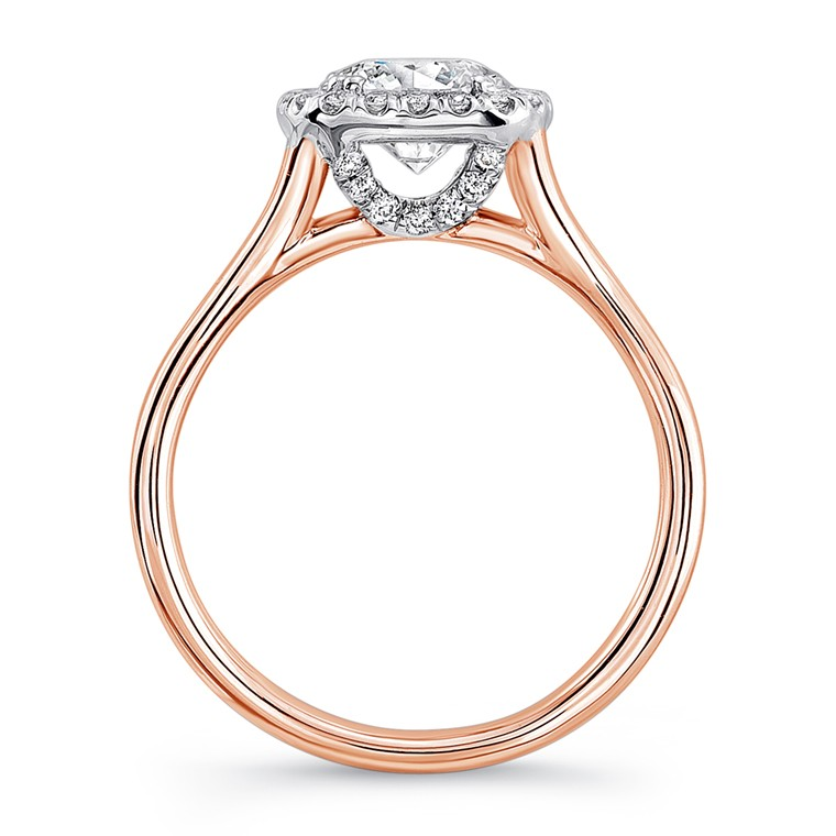 Uneek Round Diamond White Gold Engagement Ring Silhouette