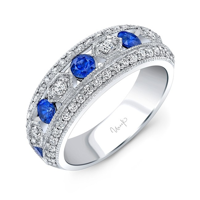 Uneek Round Blue Sapphire and Diamond Fashion Ring, in 14K White Gold