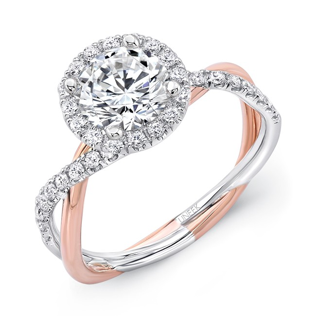 uneek two tone halo 14k gold engagement ring