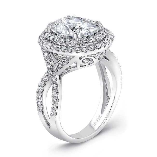 Uneek Oval Diamond Pave Halo 18k White Gold Engagement Ring