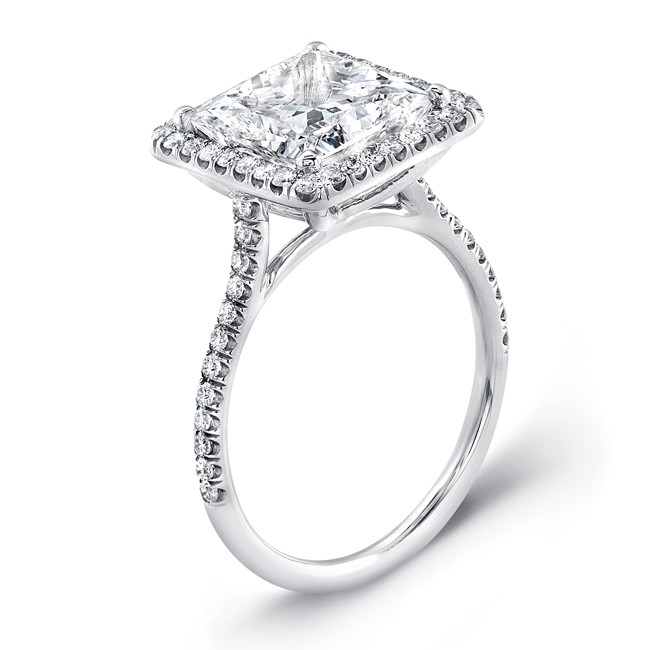 uneek 4carat princesscut diamond halo ring in platinum