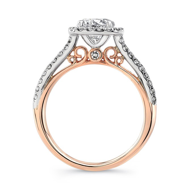 Fontana Vintage Inspired Round Diamond On Cushion Halo Two Tone Engagement Ring From Uneek Jewelry S Amore Collection
