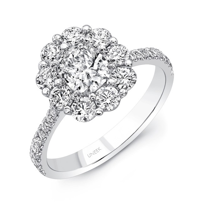 Uneek Cushion Cut Diamond Engagement Ring With Scallop Inspired