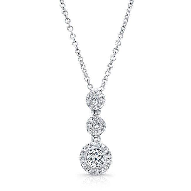 Uneek Round Diamond Three-Tier Halo Drop Pendant, 18K White Gold