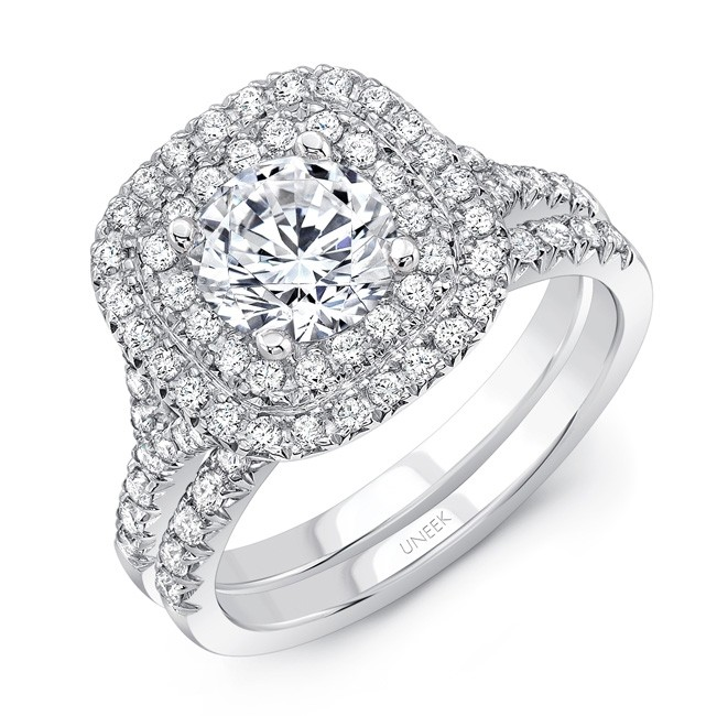 Uneek Round Diamond Engagement Ring With Cushion Shaped Double Halo Filigree Detail And Surprise Diamonds In 14k White Gold Matching Wedding Band