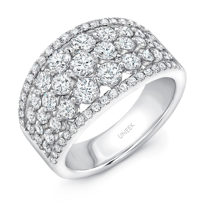 "Uneek ""Frivolité"" 5-Row Diamond Band with Pave Edges, 14K White Gold"