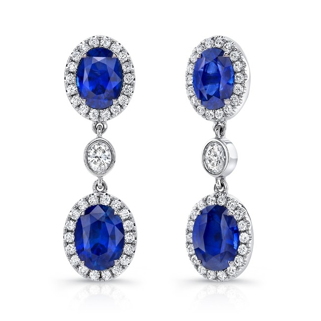 Uneek Oval Blue Sapphire Earrings with Oval Diamond Accents
