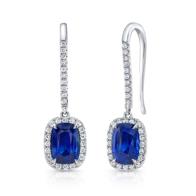 63048d8f0fd5 Uneek Cushion-Cut Blue Sapphire Earrings with Pave Diamond Halos