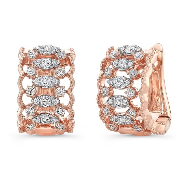 Uneek Broderie Anglaise Open Lace Diamond Huggie Hoop Earrings In 18k Rose Gold
