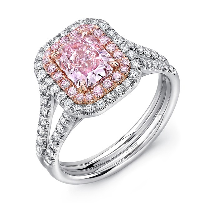 Uneek Radiant Pink Diamond Engagement Ring With Split