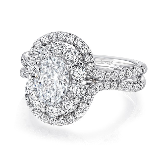 Oval Diamond Engagement Ring with Mixed Double Halo and Pave Double Shank from Uneek