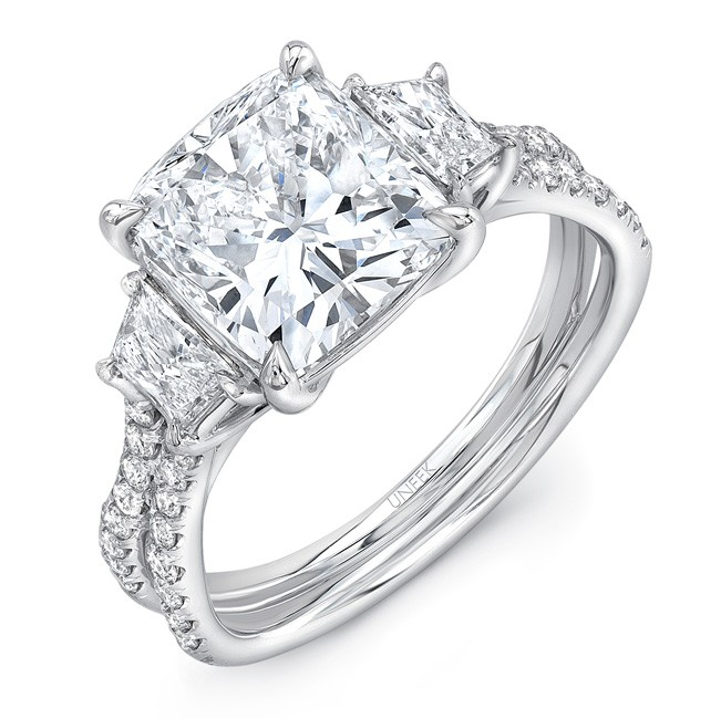 6d3195bd2cec ... Cushion Cut Diamond-Center Classic Three-Stone Engagement Ring with  Pave