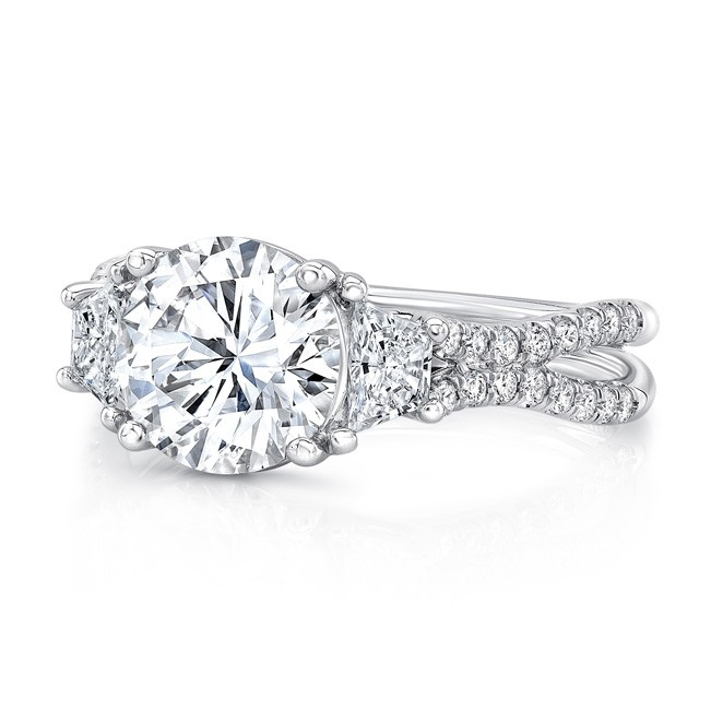 "Uneek Round-Center Classic Three-Stone Engagement Ring with Pave ""Silhouette"" Double Shank"
