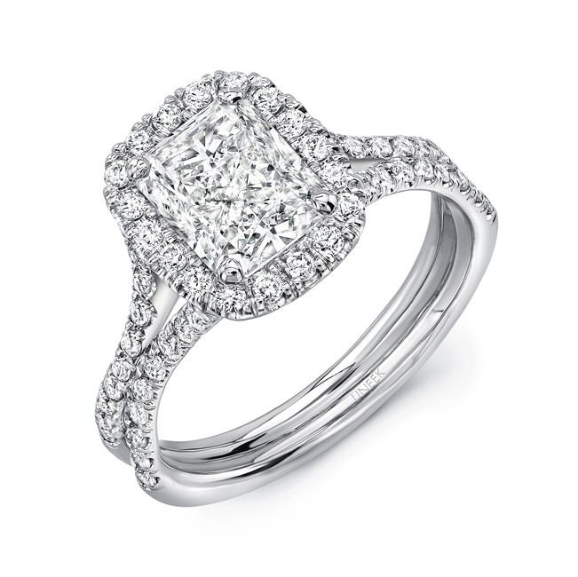 "Elongated Cushion Cut Diamond Halo Engagement Ring with Pave ""Silhouette"