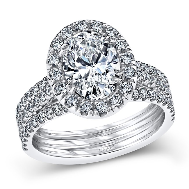 Uneek Oval Diamond Halo Engagement Ring with Pave Triple Shank, Platinum