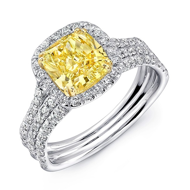 Yellow Gold Diamond Platinum: Uneek Cushion-Cut Yellow Diamond Halo Engagement Ring With