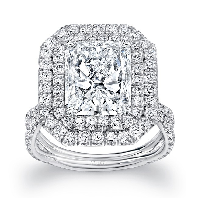 "Uneek LVS954 Radiant-Cut Diamond Engagement Ring with Dreamy Double Halo and Pave ""Silhouette"" Double Shank"