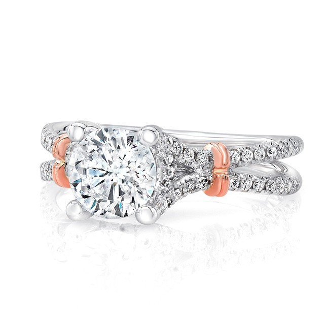 """Round Diamond Engagement Ring with Pave """"Silhouette"""" Double Shank and Rose Gold Shoulder Accents from Uneek"""