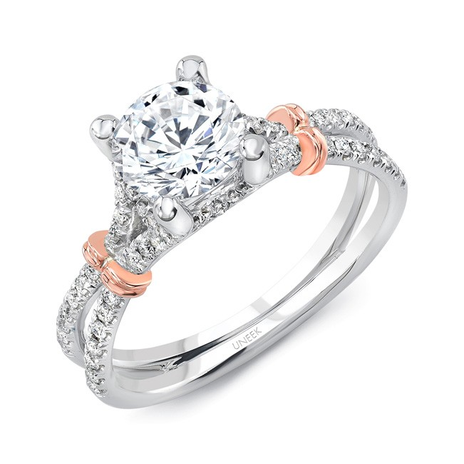 Round Diamond Engagement Ring with Pave Silhouette Double Shank
