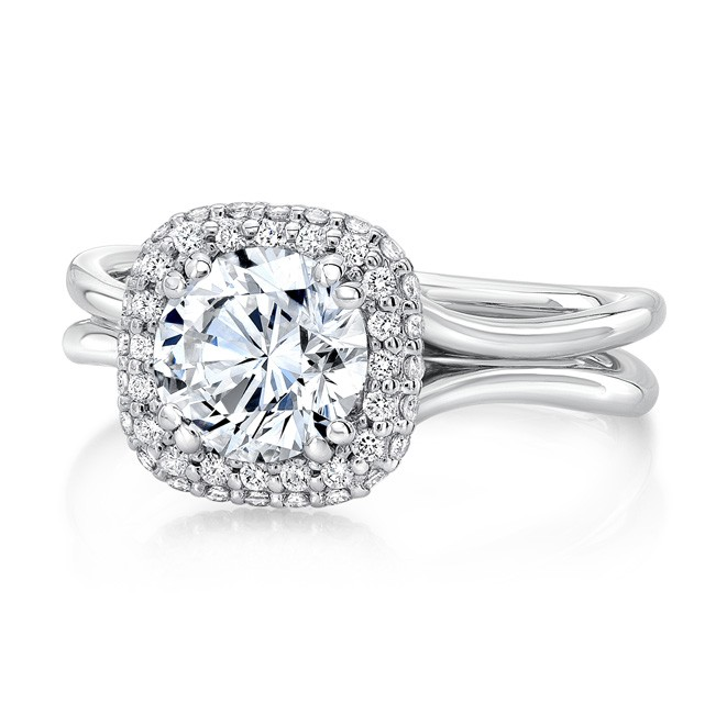 "Round Diamond Engagement Ring with Cushion-Shaped Bombay Halo and ""Silhouette"" Double Shank from Uneek"