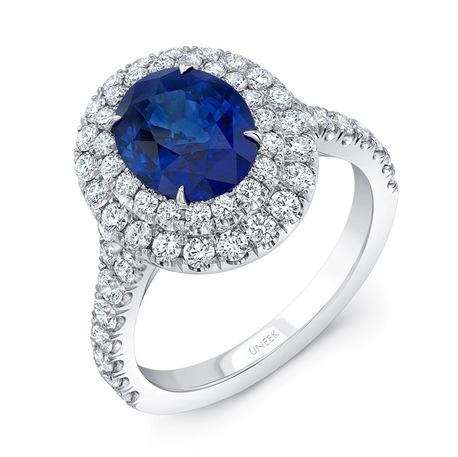 Uneek Oval Blue Sapphire Ring with Diamond Double Halo