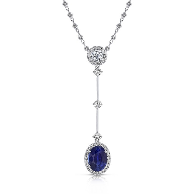 Oval Blue Sapphire Pendant Necklace in 18K White Gold