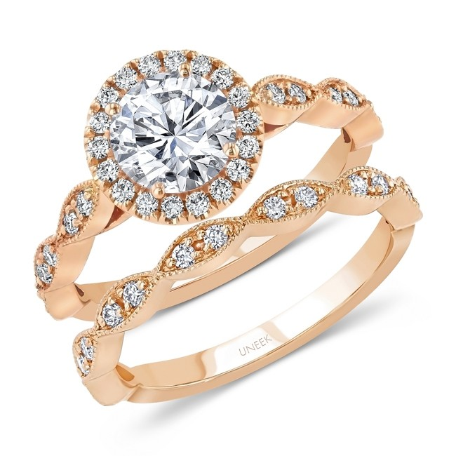 Uneek Round Diamond Halo Engagement Ring and Matching Wedding Band, with Milgrain-Trimmed Marquise-Shaped Clusters, Rose Gold