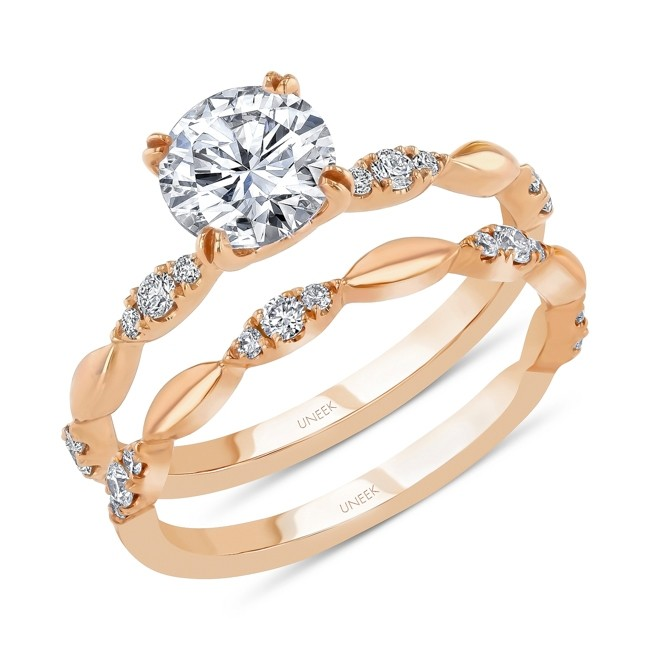Uneek Round Diamond Bridal Set with Navette-Shaped Cluster Accents, Rose Gold