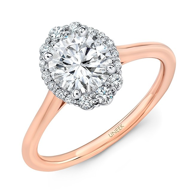 Uneek Round Diamond Engagement Ring with Oval-Illusion Halo, in 14K Two-Tone Gold