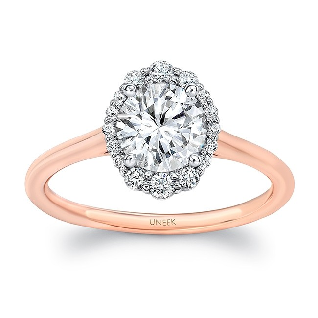 Uneek Round Diamond Engagement Ring With Oval Illusion