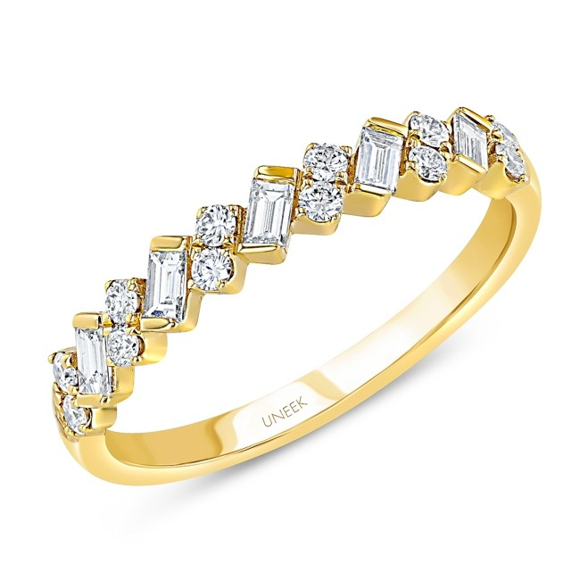 "Uneek ""Sweetzer"" Baguette and Round Diamond Stacking Ring, yellow gold version"