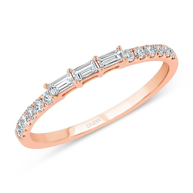 """""""Ashcroft"""" Baguette and Round Diamond Stacking Ring, rose gold version"""