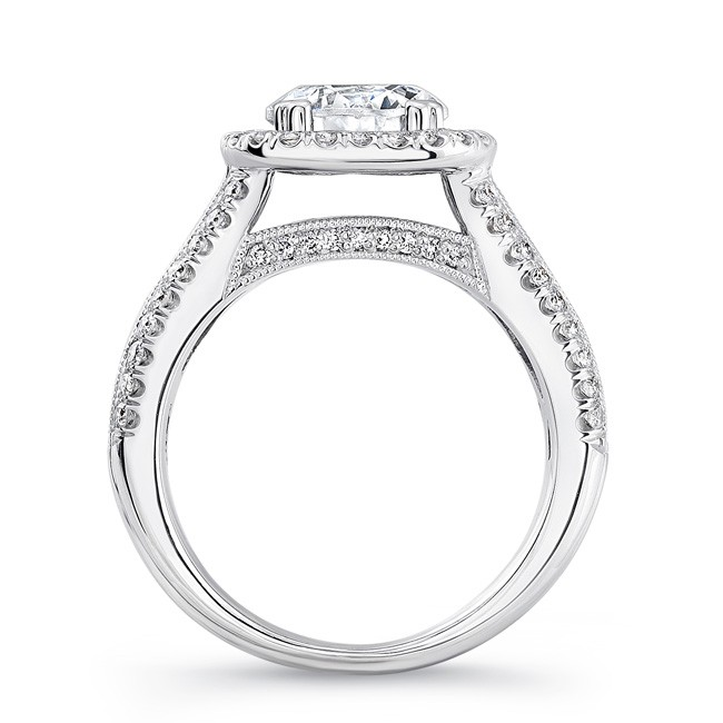 c669dff6d3a Uneek 1-Carat Round-Diamond-on-Cushion-Halo Wide-Band Engagement Ring with  Three-Row Channel- and Pave-Set Melees