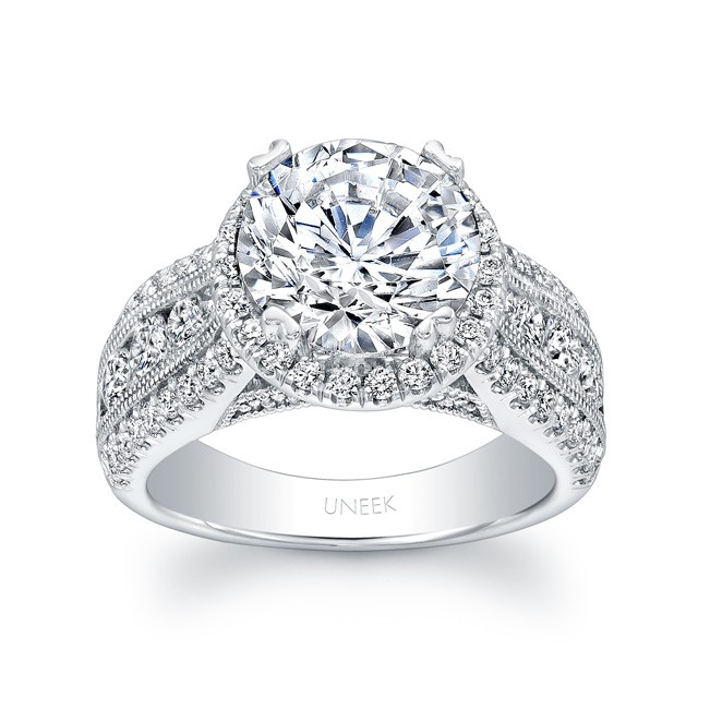 Uneek 1 Carat Round Diamond Wide Band Halo Engagement Ring With Three Row Channel And Pave Set