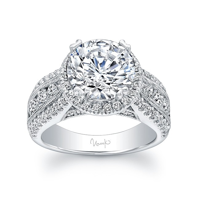 Uneek 1 Carat Round Diamond Wide Band Halo Engagement Ring With Three Row Channel And Pave Set Melees In 14k White Gold
